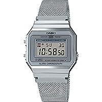 CASIO Vrouwen digitaal horloge met roestvrij stalen band A700WEM-7AEF
