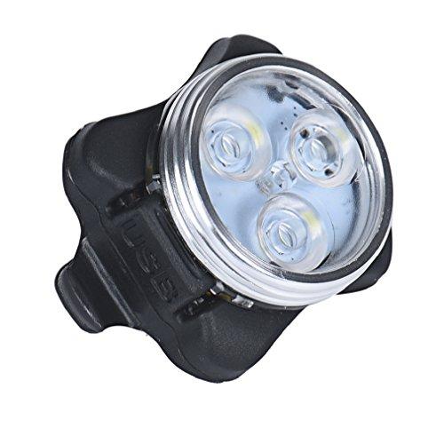 Tonsee wasserdichte USB Charging Fahrrad Kopf Lampe 3 LED Fahrrad Flash Sicherheitslicht (weiß)
