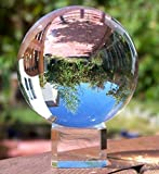 """UHMei Stand Crystal Ball 80mm Art Decor K9 Crystal Prop for Photography Decoration (3-1/5"""" DIA, K9 Clear)"""