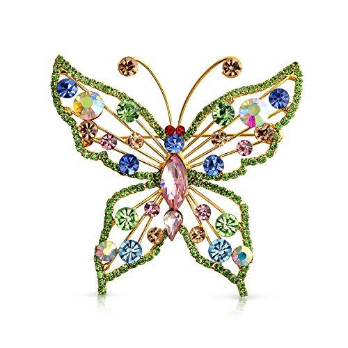 Bling Jewelry Große Mode Kristall Cognac Regenbogen Erklärung Schmetterling Broschen & Anstecknadeln Für Damen 14K Vergoldet Messing