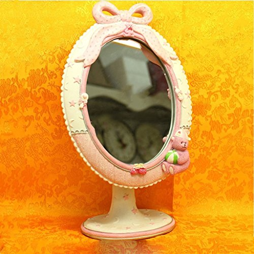 Miroir miroir- Desktop HD Portable simple face cosmétique beauté maquillage résine réglable miroir 19cm*29cm ovale salle de bains Sweet miroir sur pied miroir ( Couleur : rose )