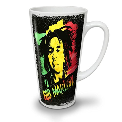 Wellcoda Marley Cannabis Bob Rasta Latte BecherReggae Kaffeetasse - Komfortabler Griff, Zweiseitiger Druck, robuste Keramik
