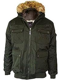 Mens Brave Soul Faux Fur Hooded Trim Water Resistant MA1 Bomber Or Parker Jacket