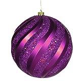 VICKERMAN lila Glitter Swirl Bruchsichere Christmas Ball Ornament 15,2cm (150mm)