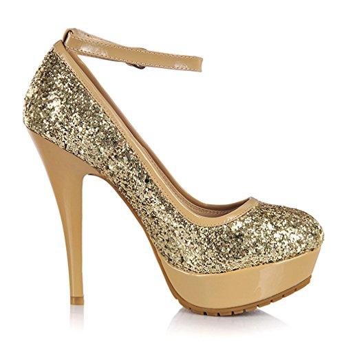Estiletes Mujeres De De Moda Plataforma Sandalias Oro Las De Elegante De Uh La Escamas Brillantes Y Tobillo Con Correa 5wS7Xxq