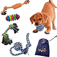 Tough Dog Puppy Chew Toys for Teething Set for Small Middle Dog Toys Indestructible for Boredom Dogs Rope Ball Knot Toys Pack