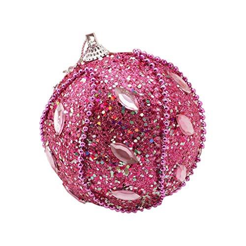 ITCHIC Palla di Natale con Strass Glitter Bagattelle Xmas Tree Ornament Decoration 8Cm Sfera di Natale Elegante con Paillettes Perline Appiccicose