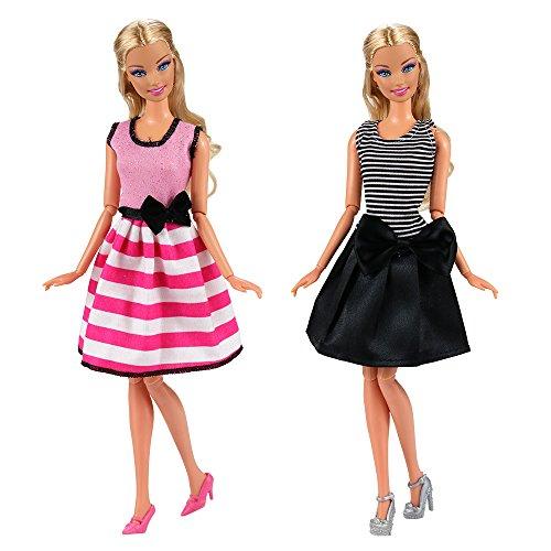 Villavivi Abiti Vestiti Ed Accessori Per La Festa Per Barbie Dolls Bambola  Per Regalo 2018 Stili Nuovi (5 Abiti + 5 Paie Delle scarpe + 5 Appendiabiti) 48603a7b224