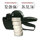 Set: MHD Datumsauszeichner Jolly C8 für 26x12 inkl. 7.500 HUTNER Etiketten weiss Tiefkühl - Aufdruck: mindestens haltbar bis | etikettieren | HUTNER