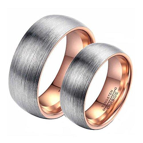 CARTER PAUL 6mm Wide Arc Scrub Paar Wolfram Stahl Ring, Farbe Rose Gold, Größe Damen 59 (18.8)