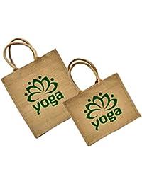 Maheshwari Jute Bag For Lunch & Shopping, Beige Maroon Bag & Beige Bag, Bag 1 Size: 18 X 4 X 14 Inches, Bag 2...