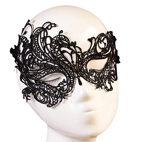 Maskerade Kostüme Damen (Butterme Frauen schwarze Spitze Maskerade Masken weiche Augen Maske venezianischen Partei Maske Bar Halloween Tanz Ball)