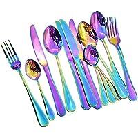 Auped Set de couverts en acier inoxydable Rainbow Color, set de couteaux et fourchettes pour cuillère de table avec…