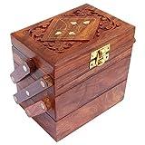 Wood Art Store Brown Wooden Jewellery Box