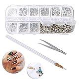 nuosen 3360 Pieces Flat Back AB Rhinestones,Nail Art Crystal Rhinestones Kit with Pick up Tweezer and Rhinestones Picking Pen for DIY Craft Art