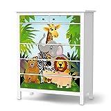 Klebefolie für IKEA Hemnes Kommode 6 Schubladen | Möbelsticker Klebesticker Tapete Folie Möbel dekorieren | Wohnen und Dekorieren Schlafzimmer-Dekoration Moderne Deko | Design Motiv Wild Animals