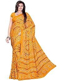 Aaradhya Fashion Women's Crepe Saree With Blouse Piece (Afmoss-0110_Orange)