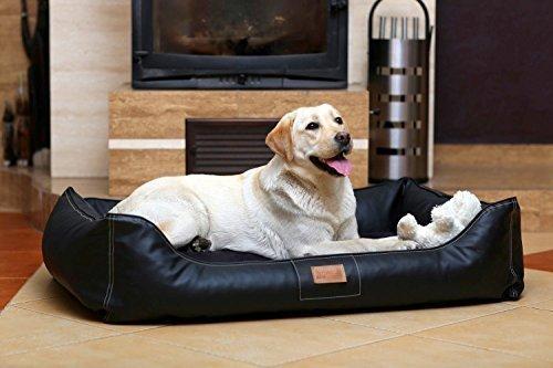 tierlando premium-klasse - Lit orthopédique pour chien Maddox avec VISCO -schaum. tous la production Ortho en similicuir Canapé Panier gr. L 100 cm Noir
