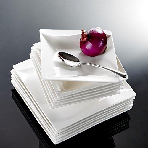 Malacasa, Serie Carina, Cremeweiß Porzellan Tafelservice 24 Teiligen Set Kombiservice Geschirrset, beinhaltet 12 Flachteller und 12 Suppenteller für 12 Personen