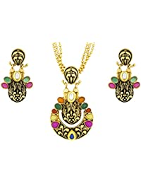The Jewelbox Oval Dangler Multi-Colour Brass Pendant Chain Pendant Earring Set For Women