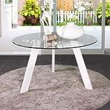 Homely-Mesa de comedor 110 cm. redonda de cristal TRIPODE con patas metal (Blanco)