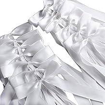 50 Piezas Lazos Decorativos en Satén Decoración para Boda para Silla Mesa Cesta Coche Regalo de Boda Detalle Elegante de Boda (Blanco)