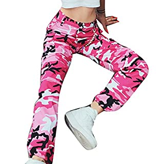 Hibote Frauen Männer Mode Casual Camo Camouflage Military Cargohose  Weibliche Lose Trainingshose Jogginghose Rot M 0d80a65534