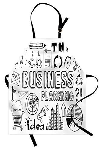 ABAKUHAUS Gekritzel Kochschürze, Unternehmensplanung Thema Doodle Icons Set Brainstorming Präsentation und Fortschritt, Farbfest Höhenverstellbar Waschbar Klarer Digitaldruck, Weiß Schwarz