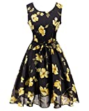 Women 1950s Vintage Style Dress Sleeveless Cocktail Cotton Floral Printed S Black Yellow Flower