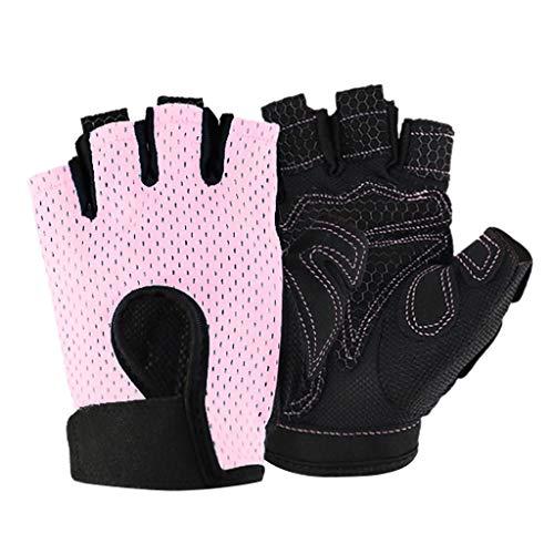 YA-Uzeun Halbfinger Fitness Handschuhe Silikon Anti-Rutsch Atmungsaktiv Workout Handschuhe, Rose, S