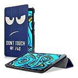 kwmobile Hülle für Samsung Galaxy Tab A 10.1 (2016) T580N/T585N - Smart Cover Case Tablet Schutzhülle Kunstleder - Ultra Slim Tabletcase Don't Touch My Pad Design Weiß Dunkelblau