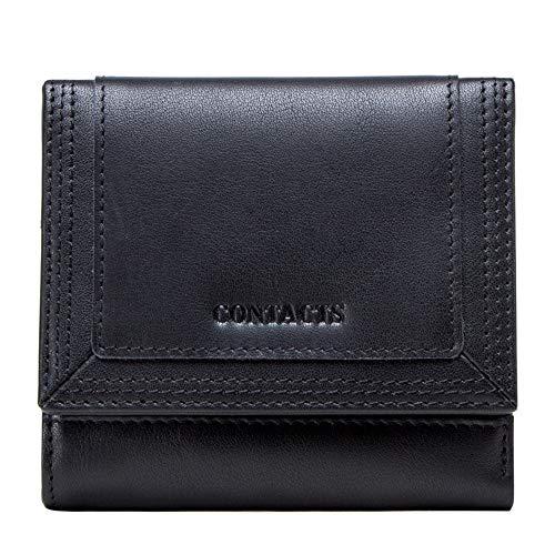 LCDYDamen Leder Geldbörse Dreifach Gefaltete Kurze Lederbrieftasche Lässige Kurze Damentasche Multifunktions-Clutch Aus Ölwachsleder,Black,15 * 2.5 * 9.8CM