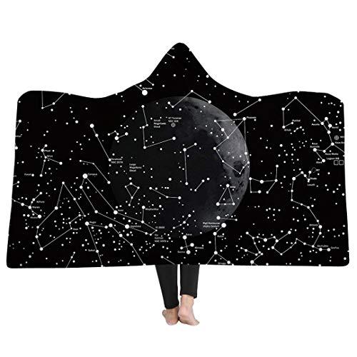 3D-Körperrahmen Sternenhimmel Galaxy-Muster Print Decke mit Kapuze,Super Weiche Mantel,Reise Camping Decke Schlafsofa Werfen (Galaxy, 60