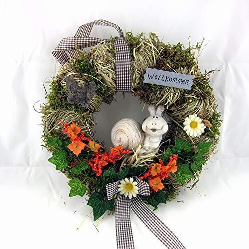 Small-Preis Türkranz Wandkranz aus Naturmaterial mit Schnecke ø 28 cm - Frühling - Sommer - Herbst - Willkommensgruß - 847 (Frühlings-kranz Für Draußen)