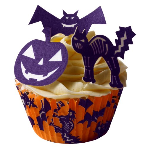 Halloween Cup Cake Kit / 12 Scary Halloween Edible Cake Decorations & Halloween Cake Cases