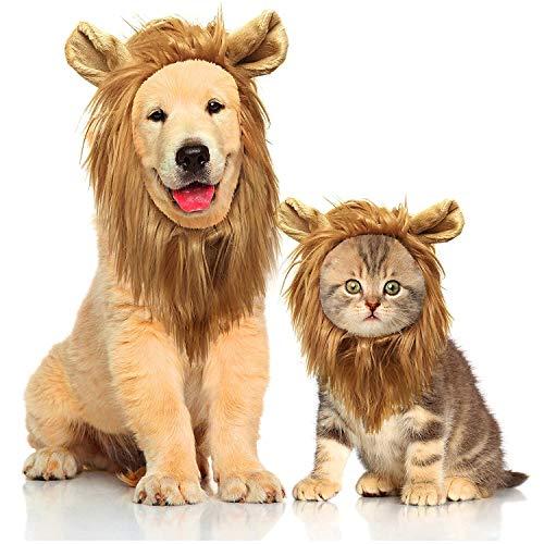 Perücke für Hunde und Katzen, Löwenhaar, Kopfbedeckung für Haustierperücke, Weihnachten, Haustiere, Katze, Halloween, Osterfeste, Party-Aktivitäten ()