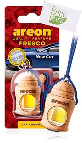 AREON Auto Lufterfrischer Parfüm Fresko 4 ml Auto-Duft - Hängende Flasche Diffusor mit Echtholzdeckel, langlebig
