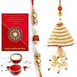 #7: Traditional Villa Jaipuri Handmade Ethnic Design Bhaiya Bhabhi Rakhi Gift Set Rakhi For Bhaiya Bhabhi And Rakhi For Bhaiya Bhabhi Combo And Rakhi Gifts For Brother Rakhi Set Free Shipping+Roli+Chawal+Greeting Card !!-2Bbs243