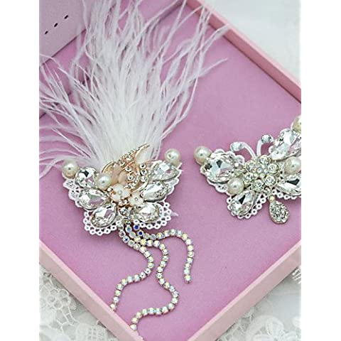 ZY/2pezzi/set bella piuma/strass partito accessori con perle finte,