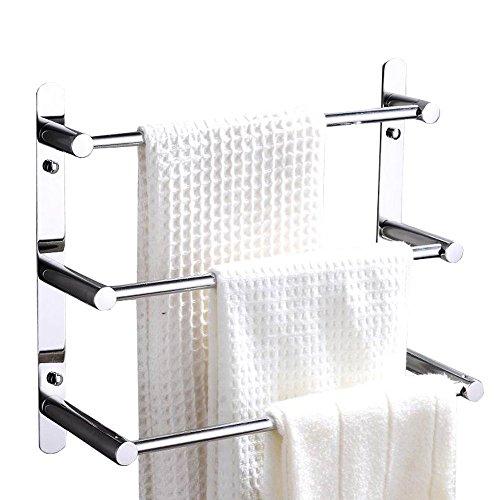 Gäste-handtuchhalter Antik (Contemporary Handtuchhalter 3 stangen Mirror poliert Finish 304 Edelstahl Badezimmer Wand montiert Chrom, 40 × 11,5 × 32 cm (15,7 × 4,5 × 12,6 Zoll))