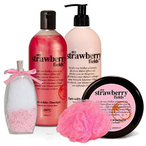 "BRUBAKER Happiness\""My Strawberry Fields\"" 5 tlg. Geschenkset Erdbeer Vanilla mit Body Lotion, Duschgel, Körperbutter, Badesalz und Badeschwamm"