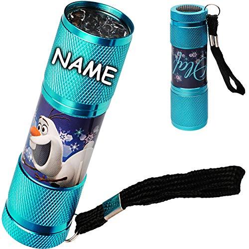 Unbekannt Taschenlampe LED - Disney die Eiskönigin - Frozen - inkl. Name - aus Metall - Mini Lampe / Schlüsselanhänger - 9 Fach LEDlicht - Licht Auto Kindertaschenlampe..