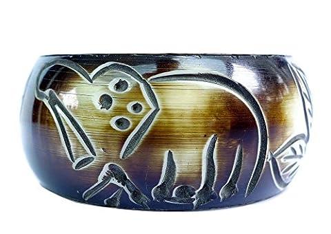En bois fait main bracelet jonc pour femme par Argent Tibétain