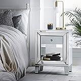 Beautify weißer verspiegelter Nachttisch mit Einzel-Schublade & Ausgeschnittener Mitte
