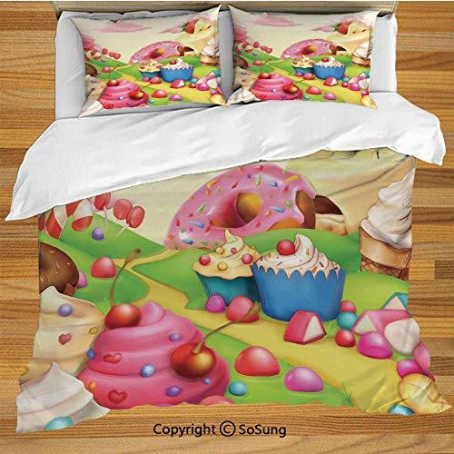 Juego de funda nórdica de cama moderna, deliciosas rosquillas Sweet Land Cupcakes...