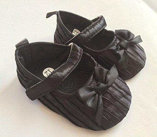 Baby Girl scarpe morbida battesimo partito Passeggino Velcro pompe Bianco Rosa Nero 0–12 Black