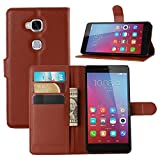 Taslar Leather Wallet Magnetic Clip Stand Flip Back Cover Case For Huawei Honor 5X (Brown)