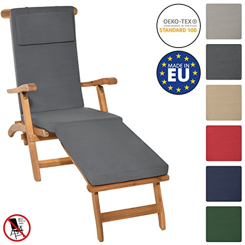 Beautissu Auflage für Deckchair LoftLux DC 175x45x5cm Luxus Polster-Auflage Liege-Stuhl - Bezug Abnehmbar Graphit-Grau