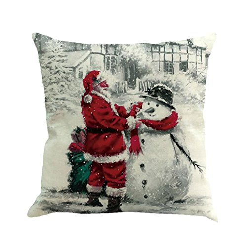 Merry Christmas Santa Cushion Cover, Indexp Xmas Festival Theme Art Sofa Home Decoration Throw Pillow Case Gift Set (Multicolor F)