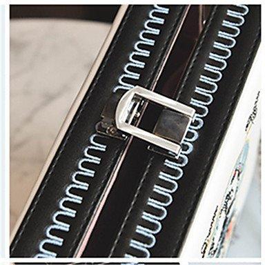 YJIUX Unisex Umhängetasche PU All Seasons and Square Cut Verschluss Lock Gelb Schwarz Weiß Blau White